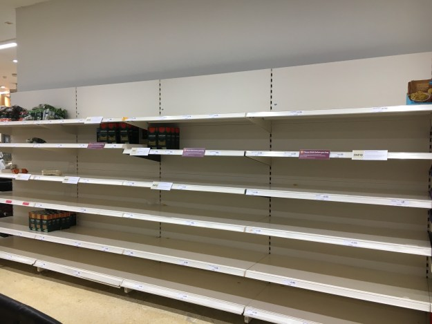 Picture of the empty shelves in a supermarket in England. Picture taken on 14th March 2020 by Patricia Gestoso©