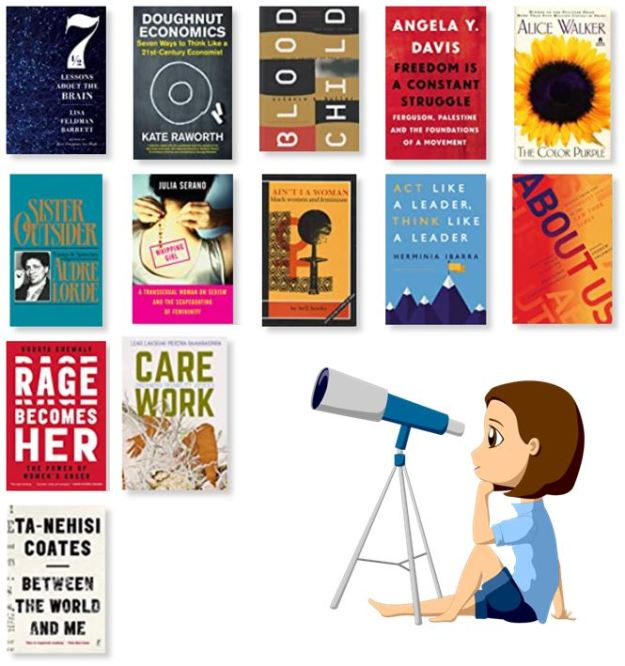 Drawing of a white young woman looking through a telescope to a 13 book covers. The books are named in this post.
