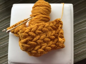 cabled scarf in progress