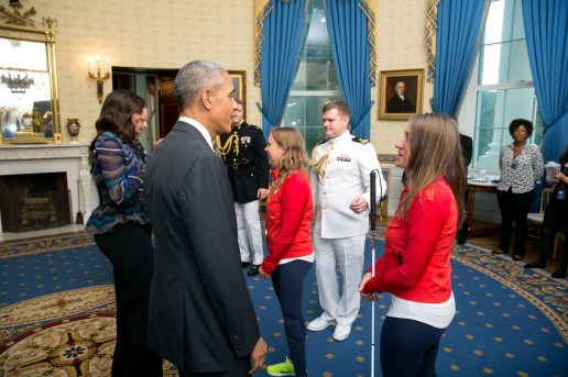 President Barack Obama greets the 2016 Paralympians and Olympians in the Blue Room, Sept. 29, 2016, prior to an event to welcome the 2016 U.S. Olympic and Paralympic teams to the White House to honor their participation and success in the 2016 Olympic games in Rio de Janeiro, Brazil. (Official White House Photo by Lawrence Jackson) This photograph is provided by THE WHITE HOUSE as a courtesy and may be printed by the subject(s) in the photograph for personal use only. The photograph may not be manipulated in any way and may not otherwise be reproduced, disseminated or broadcast, without the written permission of the White House Photo Office. This photograph may not be used in any commercial or political materials, advertisements, emails, products, promotions that in any way suggests approval or endorsement of the President, the First Family, or the White House.