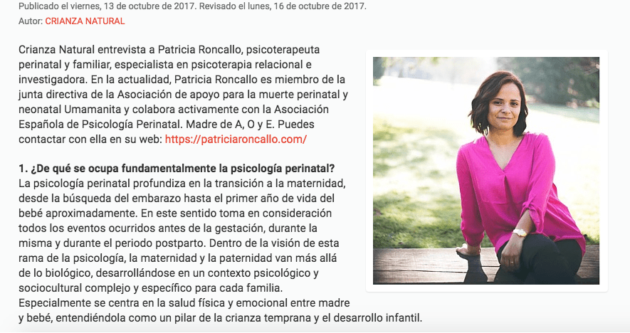 Entrevista crianza natural