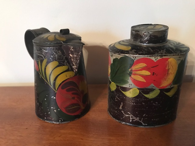 Original Early painted Tole Canister $185  Creamer $185
