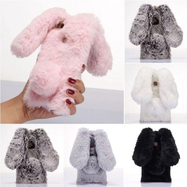 For Fundas Huawei P9 Lite Case 3D Cute Hairy Rabbit Warm Fur TPU Phone Cases For 621x621 - Capinhas para Iphone modelos [2018]