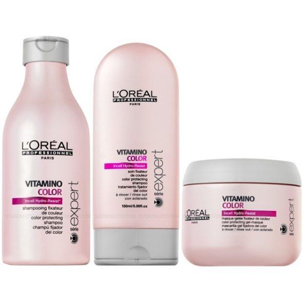 Loreal Expert Vitamino Color Kit Shampoo 250ml Condicionador 150ml e M scara de Tratamento 200ml  621x621 - Cabelos Coloridos Fantasia - Cuidados
