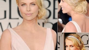 charlize theron maquiagem globo de ouro 2012 - Confira os truques do cabeleireiro top Di Biaggi