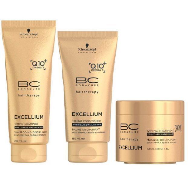 Schwarzkopf Bonacure Excellium Taming Kit Shampoo 200ml Condicionador 150ml e Mascara 150ml  621x621 - Cabelos que Envelhecem