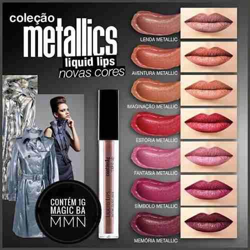 Batom Liquid Lips Contem 1g Fantasia Metallic  - Batom metálico - Cores Tendências, Marcas e Preços