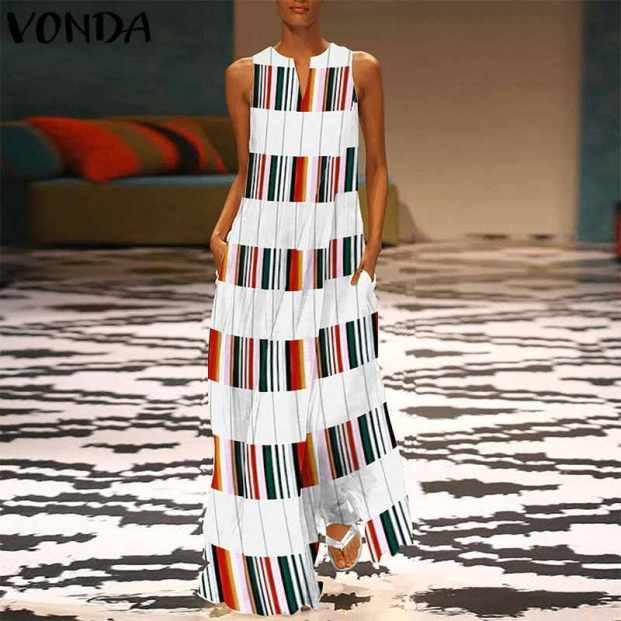 vestido listrado colorido 1 621x621 - Looks Com Listrados Verão 2019: Tendências, Looks Para Copiar
