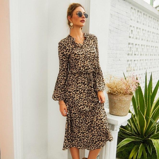 2019 outono novas mulheres leopardo impress o vestido elegante manga longa v pesco o cintura alta - Vestidos Estampados 2020: 70 Looks Inspirações, Trends