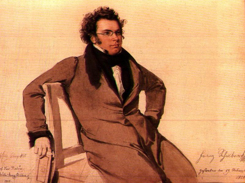 Retrato en acuarela de Franz Schubert por Wilhelm August Rieder (1796-1880), 1825