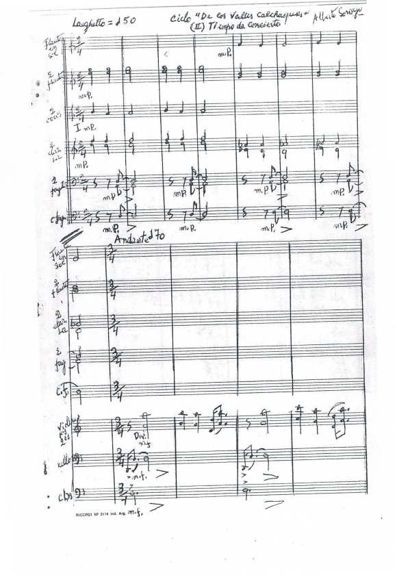 """Manuscrito de la primera página de """"Tiempo de Concierto"""" del """"Ciclo de los Valles Calchaquíes"""""""