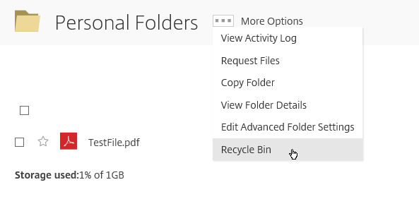 ShareFile Recycle Bin