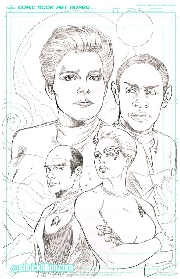 Star Trek VOYAGER anniversary Fan Art by Patrick Fillion. Pencils.