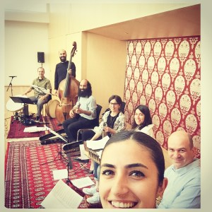 In rehearsal for 'The Golden Door' at the Ismaili Centre, Toronto.