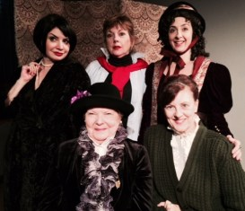 Group pic with Romy Nordlinger (Alla Nazimova), Paula Ewin (Katharine Hepburn), Karen Eterovich (Fanny Kemble), sitting, Mari Lyn Henry (Clara Morris) and Meghan Duffy (Mrs. Minnie Maddern Fiske)