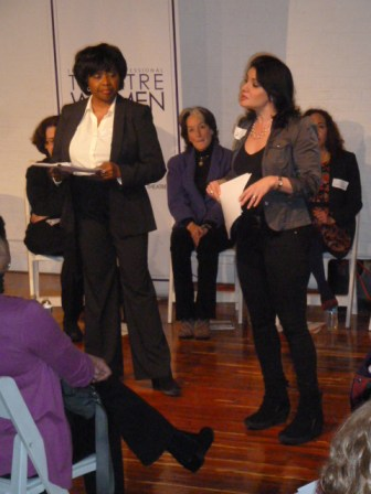 Networking Committee Co-Chairs: Richarda Abrams, Board Member and Romy Nordlinger, (Peggy Eisenhauer, Lighting Designer looking on)