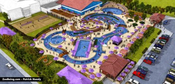 3D rendering of waterpark renovation and addition.