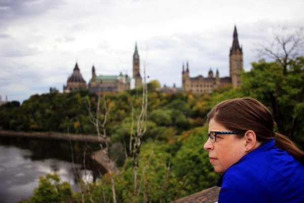 Kathleen, with Parliament in the background