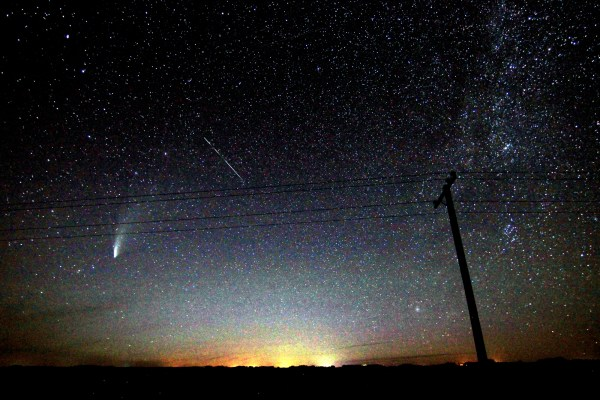 Comet NEOWISE, a shooting star, and the Milky Way