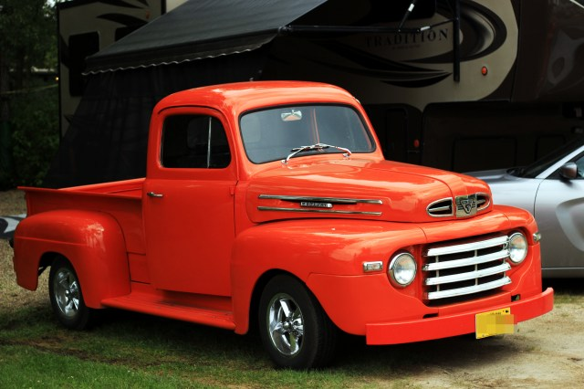 '49 Mercury truck in bright orange