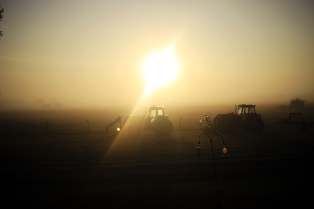 Tractors in the fog