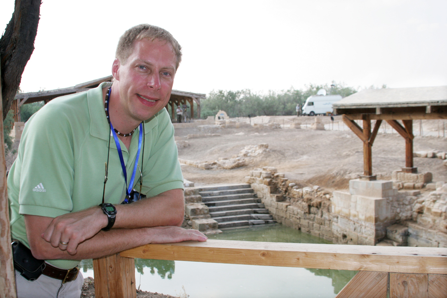 Waiting for the Pope at the baptism site.