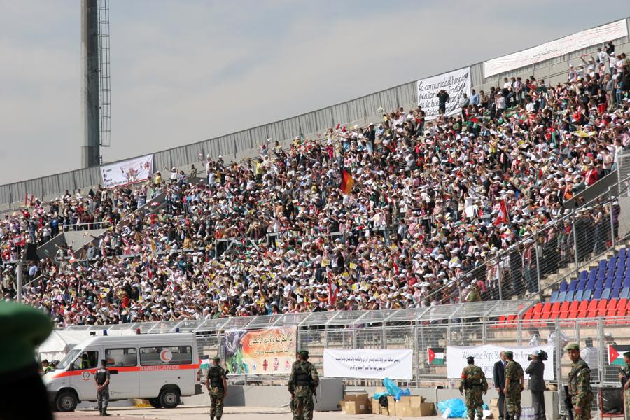 Thousands await Pope Benedict XVI at Amman International Stadium on Sunday, May 10. (Patrick Novecosky photo)