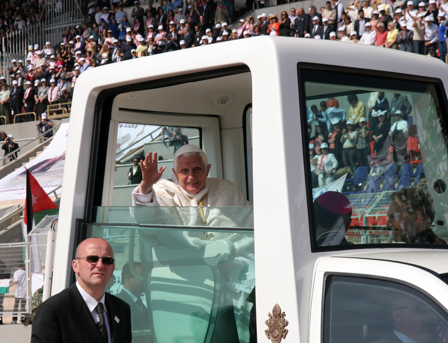 Pope Benedict XVI enters Amman International Stadium in the Popemobile on Sunday, May 10. (Patrick Novecosky photo)