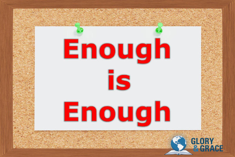 Hungry for God's presence image showing text reading enough is enough