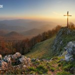 Thou are with me image showing a valley with the cross on a hill