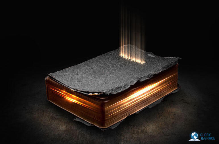 Random Bible verse image showing Bible glowing