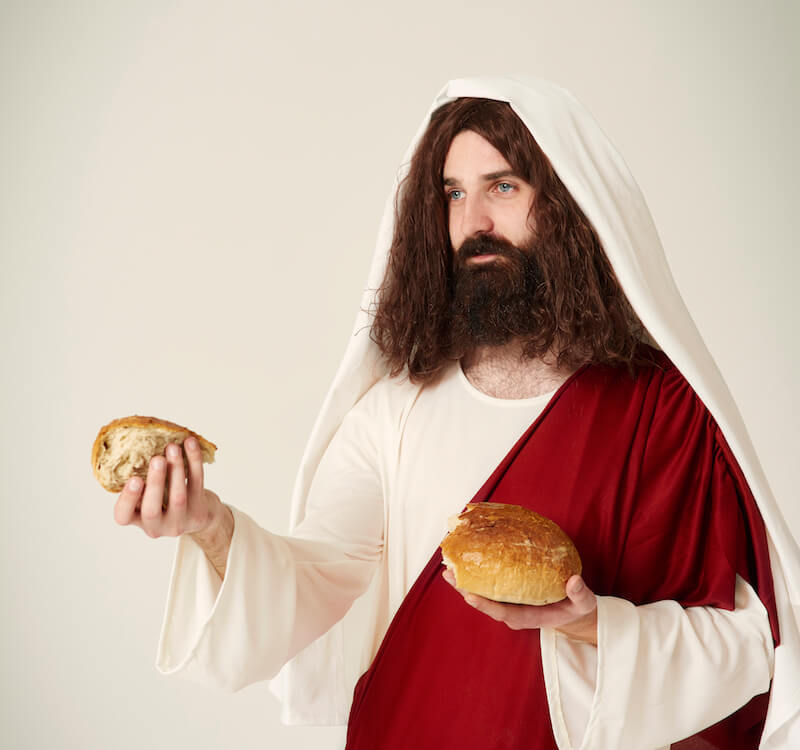 Why Call Ye Me Lord Lord, showing a picture of Jesus breaking bread