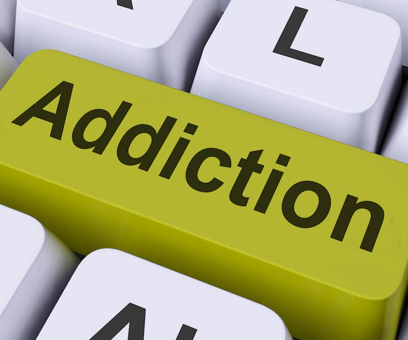 Addiction showing the letters of the word