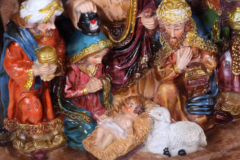 Baby Jesus showing a nativity scene