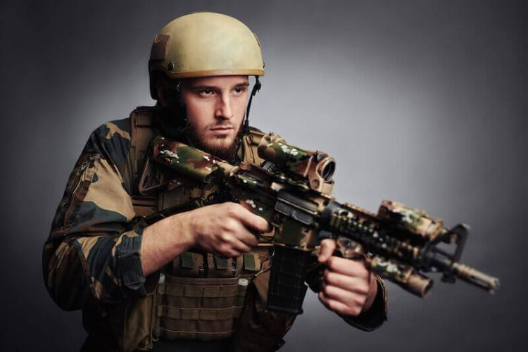 with him arm of flesh showing soldier with guns
