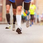 let us run the race that is set before us showing a man running a race