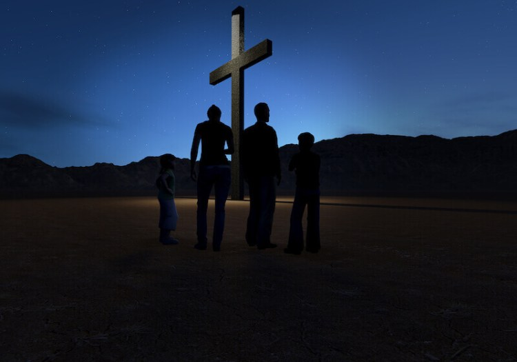 look and live showing a man and his family looking at Jesus