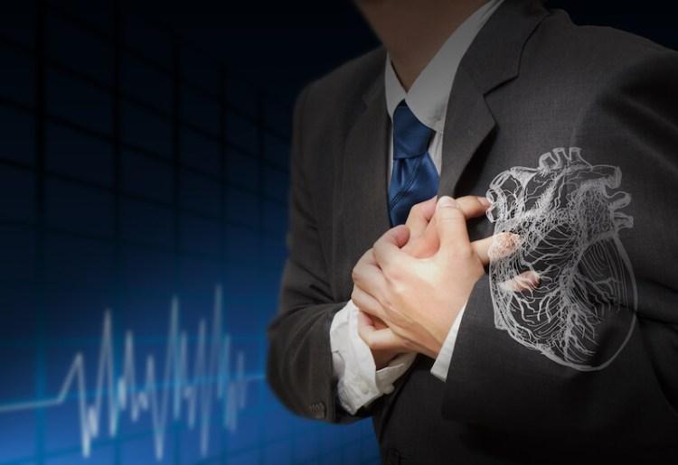 Spiritual heart attacks showing a man having a heart attack
