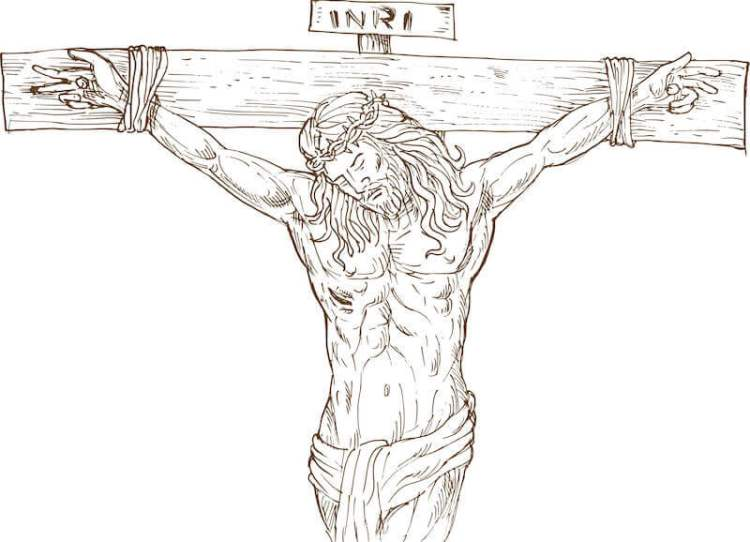 mystery of the substitution showing Jesus on the cross