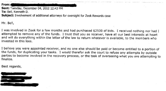 Section from an email received by the court-appointed receiver in the Zeek Rewards Ponzi scheme case. Source: federal court files.