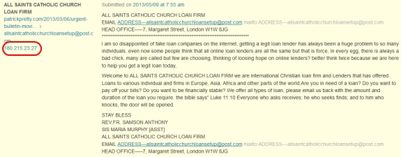 """The scam/spam pitch from """"ALL SAINTS."""""""