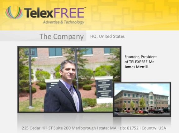 TelexFree affiliates have shared a photo of James M. Merrill posing in front of an office building in Massachusetts. The photo, however, is not proof of TelexFree's legitimacy and raises questions about whether the company was trying to plant the seed it had a massive physical presence in the United States.