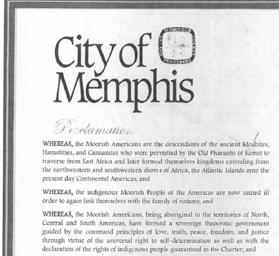 """Memphis has rescinded this 2012 proclamation that suggests a """"sovereign theocratic government"""" independent of the existing governments of the Americas had been formed."""