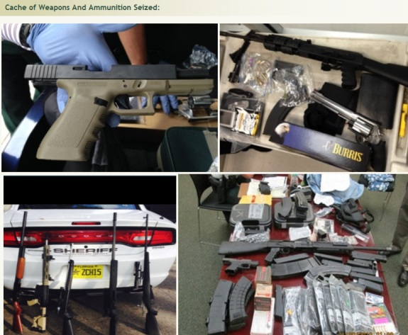 """Weapons seized during the probe of purported """"sovereign citizen"""" Eric Holtgard in the region of Tampa, Fla."""
