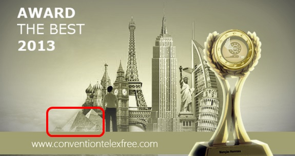 In a bizarre promo, Egyptian pyramids are being used as an art element by cheerleaders for TelexFree, an alleged pyramid scheme.  Source: ConventionTelexFree.com. Red highlight by PP Blog.