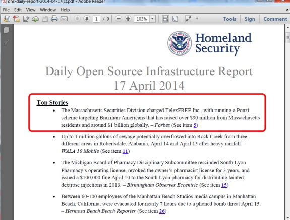 From yesterday's national infrastructure report by the U.S. Department of Homeland Security.