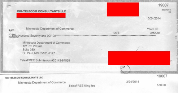 The telecome consulting company of Joseph Isaacs made a payment of $570 to the state of Minnesota to cover TelexFree's filing fees, according to records. Isaccs later would contend he'd been duped by TelexFree, an alleged Ponzi- and pyramid scheme that gathered more than $1.2 billion.
