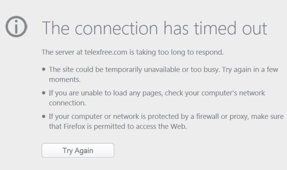 The website of TelexFree will not load this afternoon. Whether this signals a development in the TelexFree Ponzi, pyramid and bankruptcy cases was not immediately clear.