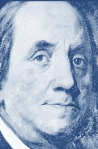 "Benjamin Franklin, first Postmaster General. Source: screen shot from USPS illustrated booklet, ""The United States Postal Service: An American History, 1775-2006."""