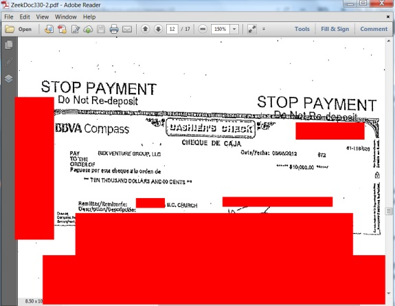 """This exhibit in the Zeek rewards Ponzi- and pyramid case shows that an an """"E.C. Church"""" sent $10,000 to Zeek just days before in collapse in August 2012. (Masking by PP Blog.)"""